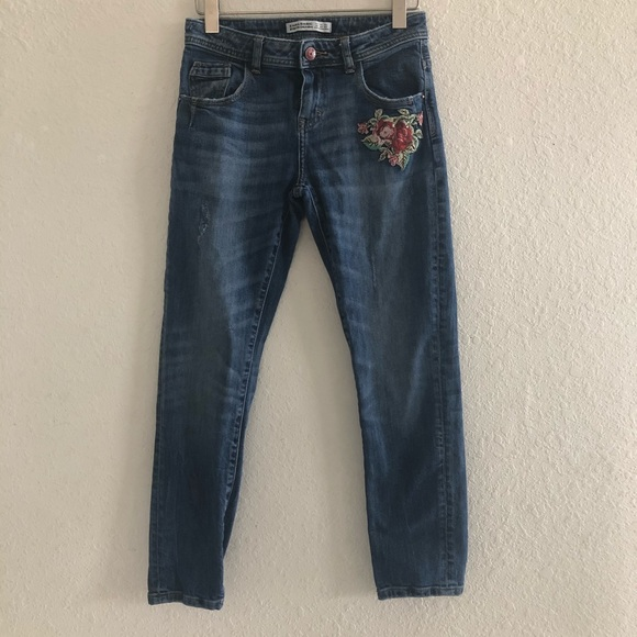Zara Rose Floral Embroidered Mid Rise Jeans
